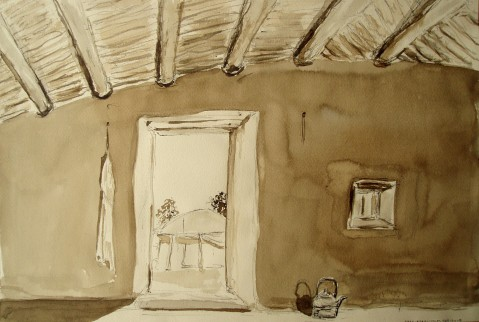 Fatimata's house, Karal, Mali. Walnut ink on tinted paper by Maria Coryell-Martin, February 2005.